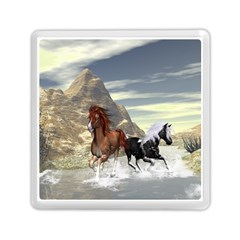 Beautiful Horses Running In A River Memory Card Reader (square)