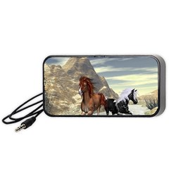 Beautiful Horses Running In A River Portable Speaker (Black)