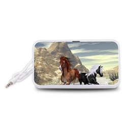 Beautiful Horses Running In A River Portable Speaker (White)