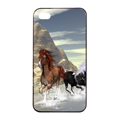 Beautiful Horses Running In A River Apple iPhone 4/4s Seamless Case (Black)