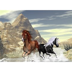 Beautiful Horses Running In A River Birthday Cake 3D Greeting Card (7x5)