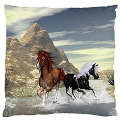 Beautiful Horses Running In A River Large Cushion Cases (Two Sides)