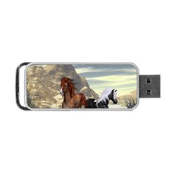 Beautiful Horses Running In A River Portable USB Flash (One Side)