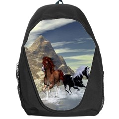 Beautiful Horses Running In A River Backpack Bag
