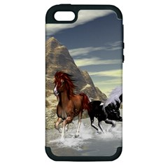 Beautiful Horses Running In A River Apple iPhone 5 Hardshell Case (PC+Silicone)