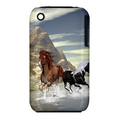 Beautiful Horses Running In A River Apple iPhone 3G/3GS Hardshell Case (PC+Silicone)