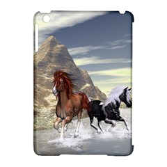 Beautiful Horses Running In A River Apple Ipad Mini Hardshell Case (compatible With Smart Cover)