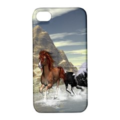 Beautiful Horses Running In A River Apple iPhone 4/4S Hardshell Case with Stand