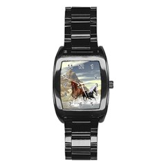 Beautiful Horses Running In A River Stainless Steel Barrel Watch