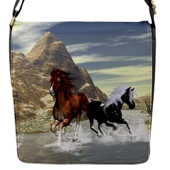 Beautiful Horses Running In A River Flap Messenger Bag (S)