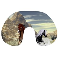 Beautiful Horses Running In A River Travel Neck Pillows