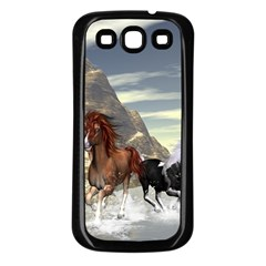 Beautiful Horses Running In A River Samsung Galaxy S3 Back Case (Black)