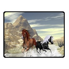 Beautiful Horses Running In A River Double Sided Fleece Blanket (Small)
