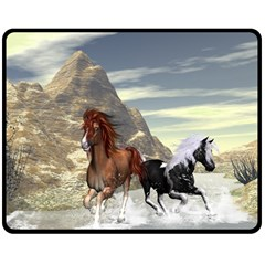 Beautiful Horses Running In A River Double Sided Fleece Blanket (Medium)