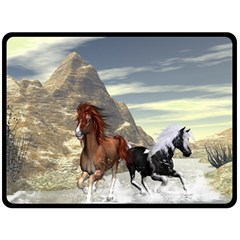 Beautiful Horses Running In A River Double Sided Fleece Blanket (large)