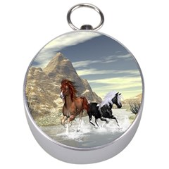 Beautiful Horses Running In A River Silver Compasses