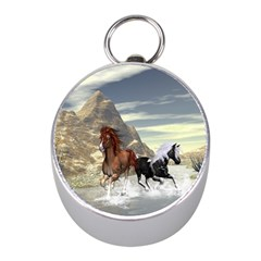 Beautiful Horses Running In A River Mini Silver Compasses