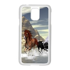 Beautiful Horses Running In A River Samsung Galaxy S5 Case (white)