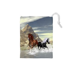Beautiful Horses Running In A River Drawstring Pouches (Small)