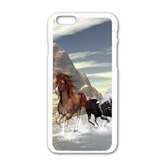 Beautiful Horses Running In A River Apple iPhone 6/6S White Enamel Case