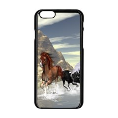 Beautiful Horses Running In A River Apple Iphone 6/6s Black Enamel Case