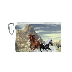 Beautiful Horses Running In A River Canvas Cosmetic Bag (S)