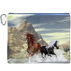 Beautiful Horses Running In A River Canvas Cosmetic Bag (XXXL)
