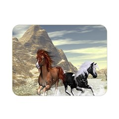 Beautiful Horses Running In A River Double Sided Flano Blanket (mini)