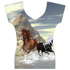 Beautiful Horses Running In A River Women s V-Neck Cap Sleeve Top