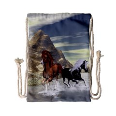 Beautiful Horses Running In A River Drawstring Bag (Small)