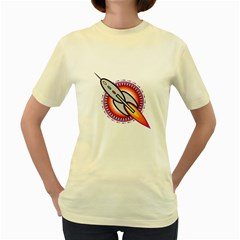 Space Rocket Women s Yellow T-Shirt