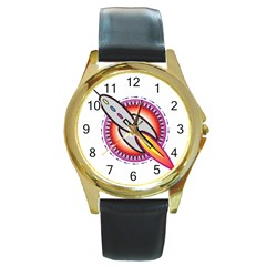 Space Rocket Round Gold Metal Watches