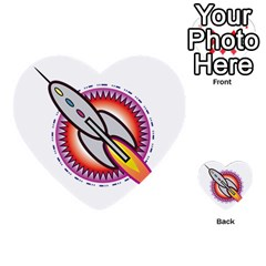 Space Rocket Multi-purpose Cards (Heart)