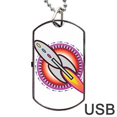 Space Rocket Dog Tag USB Flash (Two Sides)