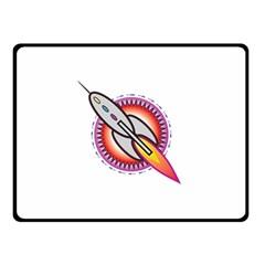 Space Rocket Double Sided Fleece Blanket (Small)