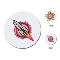 Space Rocket Playing Cards (Round)