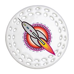 Space Rocket Ornament (Round Filigree)