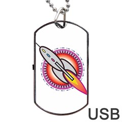 Space Rocket Dog Tag USB Flash (One Side)