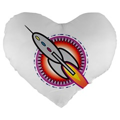 Space Rocket Large 19  Premium Flano Heart Shape Cushions