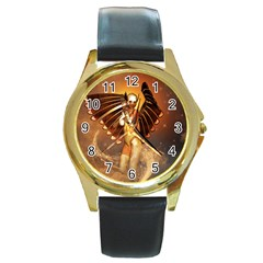 Beautiful Angel In The Sky Round Gold Metal Watches