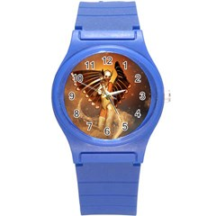 Beautiful Angel In The Sky Round Plastic Sport Watch (S)