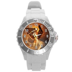Beautiful Angel In The Sky Round Plastic Sport Watch (L)