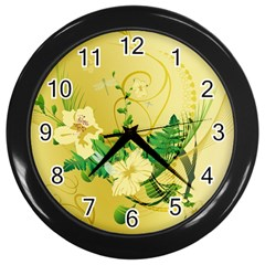 Wonderful Soft Yellow Flowers With Leaves Wall Clocks (Black)