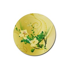 Wonderful Soft Yellow Flowers With Leaves Rubber Round Coaster (4 pack)