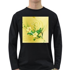 Wonderful Soft Yellow Flowers With Leaves Long Sleeve Dark T-Shirts