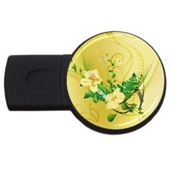 Wonderful Soft Yellow Flowers With Leaves USB Flash Drive Round (4 GB)