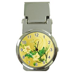 Wonderful Soft Yellow Flowers With Leaves Money Clip Watches