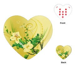 Wonderful Soft Yellow Flowers With Leaves Playing Cards (heart)