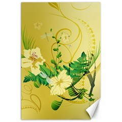 Wonderful Soft Yellow Flowers With Leaves Canvas 20  X 30