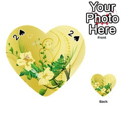 Wonderful Soft Yellow Flowers With Leaves Playing Cards 54 (heart)